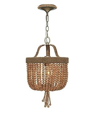 Gold Coast Lighting Eva 1-Light Jute Thread Bead Mini Chandelier, Burnished Silver