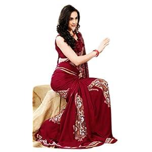 Fancy Red Crepe Silk Printed Saree 7009