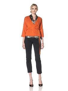 Natori Women Pleated Stitch Short Jacket (Burnt orange)