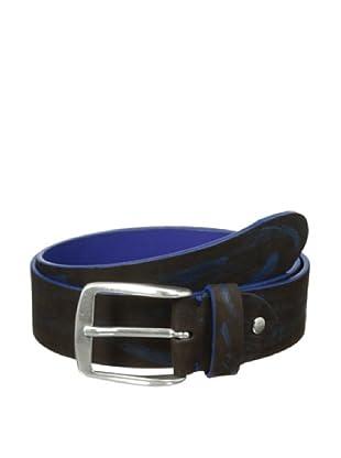 Bolliver Men's Two Tone Crocodile Pattern Belt (Blue/Brown)