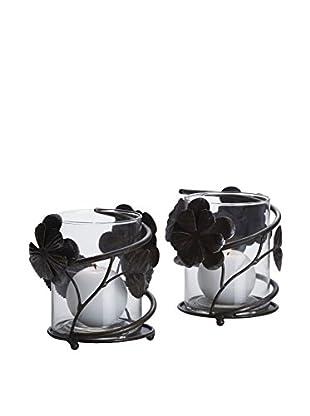 Mikasa Set of 2 Rustic Flower Votive Holders
