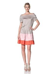 NINA RICCI Women's Grey Short Dress (Grey Khaki Multicolor)