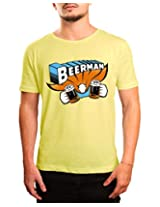 Bushirt Men's Round Neck Cotton T-Shirt (DN00096- Beer Man_Lime_Small)