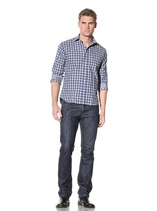 Rufus Men's Button-Up Cotton Shirt (Blue/Grey)