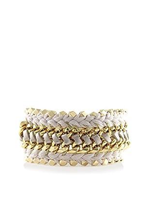 Ettika Something Bold Beige Cord & 18K Gold-Plated Bracelet