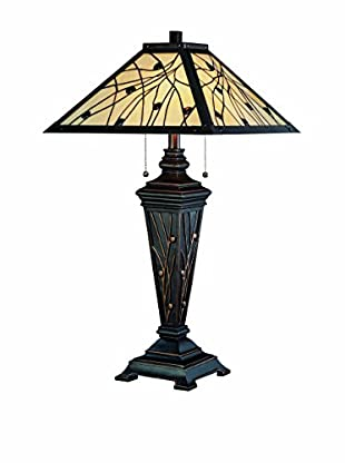 Lite Source Remus 2-Light Table Lamp, Antique Bronze/Tiffany