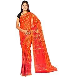 Bunkar Banarasi Ethnic Net Saree With Blouse Piece_1310-ORANGE