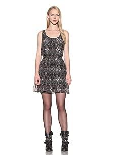 Charlotte Ronson Women's Button Front Print Dress (Black)