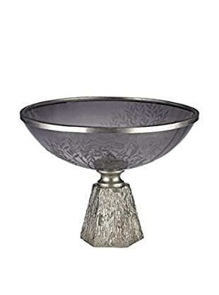 Smoked Glass Bowl on Silver Leaf Base, Grey