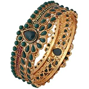 Green Stone Studded Bangle By Variation