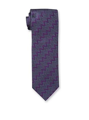 Missoni Men's Horizontal Zig Zag Tie, Pink/Teal