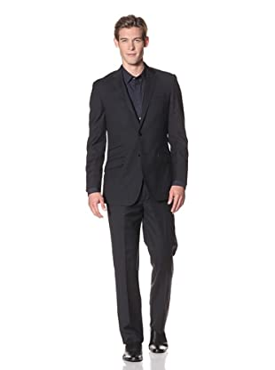 English Laundry Men's 2-Button Pinstripe Suit (Black)