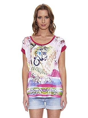 Peace & Love Camiseta Estampada (Fucsia)