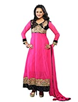 Vibes Womens Georgette Patch Work Anarkali Unstitched Dress Material (V188-1005 A _Pink)