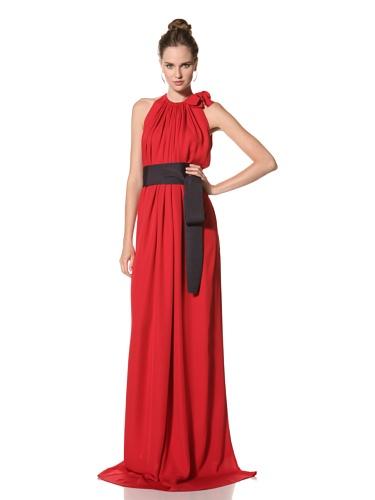 Juan Carlos Obando Women's Sleeveless Belted Long Dress (Red)