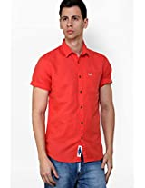 Solid Red Casual Shirt Meltin