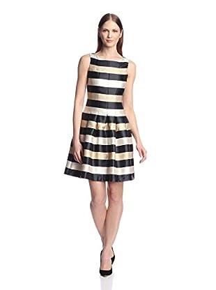 Chetta B Women's Shimmer Stripe Fit-and-Flare Dress