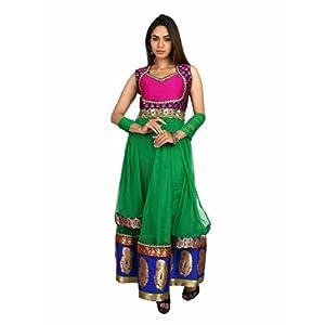 Fashiontra Women's Net Anarkali Suit (JUL22115_Green_Large)