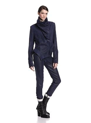 Ann Demeulemeester Women's Leather Jacket (Blue)