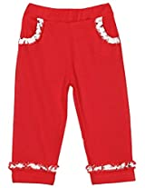 Snuggles Straight Leggings With Pockets And Frills - Red (0-3 Months)