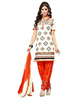Suchi Fashion Cream & Orange Cotton Embroidered Patiyala Suit Dress Material