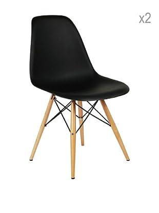 Lo+deModa Set De 2 Sillas Wooden Color Edition Negro
