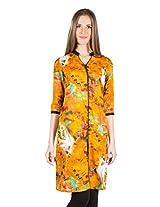 Panit Women's Cotton Kurta (PANI011A_Yellow_Large)