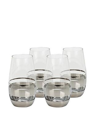 Impulse! Set of 4 Chelsea Highball Glasses, Clear/Silver