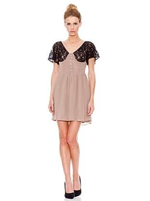 Rare Vestido Lace Sleeve Vintagentea (Moca)