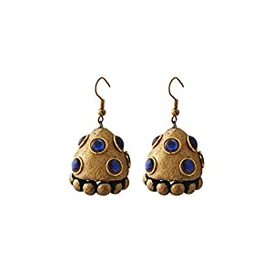 Artistri Temple Jewellery Inspired Antique Gold Jhumkas With Blue Stones