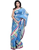 Exotic India Methyl-Blue Chanderi Saree With Woven Leaves in Golden and S - Blue