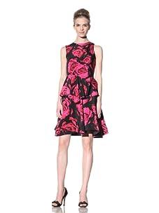 Bensoni Women's Melting Rose Peplum Dress (Fuchsia/Black)