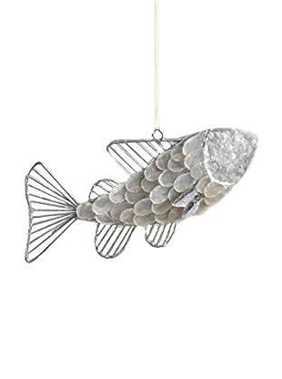Capiz And Wire Fish Ornament, Silver