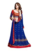 Jiya Presents Women's Multi Embroidered Semi-Stitched Lahenga With UnStitched Blouse Piece.(Blue,Red)