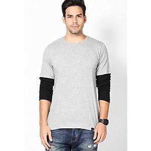 Grey Melange Solid Slim Fit Crew Neck T Shirt