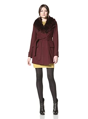 Vince Camuto Women's Wrap Coat with Faux Fur Collar (Burgundy)