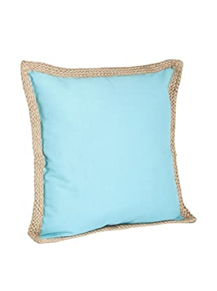 Saro Lifestyle Turquoise Solid Jute-Braided Pillows