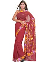 Exotic India Earth-Red Saree with Kashmiri Floral Embroidery on Aanchal an - Red