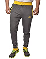 Men's Cotton Track Pants with Zipper Pockets (Grey-Yellow)