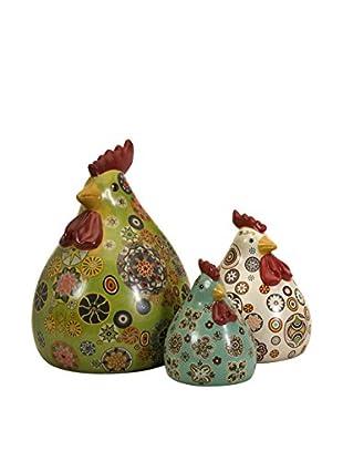 Set of 3 Canvon Chickens
