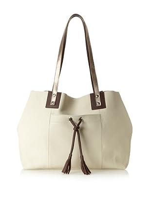 Luciana Verde Women's Shivani Tote Bag, Bone/Chestnut/Metallic