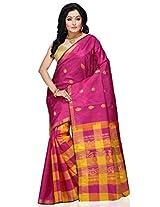Utsav Fashion Women's Fuchsia and Yellow Pure Kanchipuram Handloom Silk Saree with Blouse