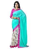Vibes Women's Chiffon Saree (S23-1106A_Blue)