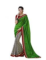 Status Green Color Printed Saree On Bhagalpuri Silk Fabric.