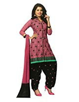SGC Pink & Black Cotton Embroidery unstitched churidar Patiyala (NKT-5107)