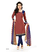 BanoRani Womens Red & Dark Blue Color PolyCotton Unstitched Dress Material