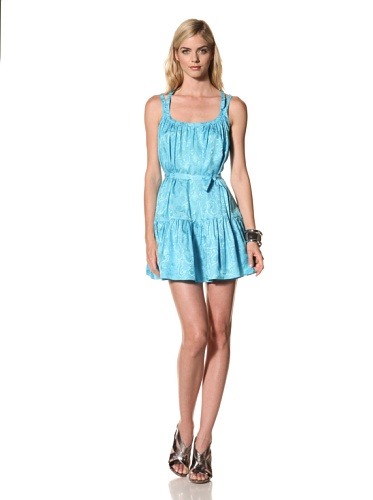 Thakoon Women's Belted Jacquard Sun Dress (Turquoise)