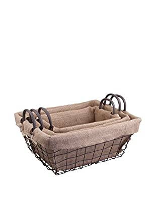 Set of 3 Farmhouse Rectangle Metal Baskets