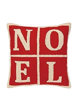 Peking Handicraft Noel Christmas Blocks Throw Pillow, Red