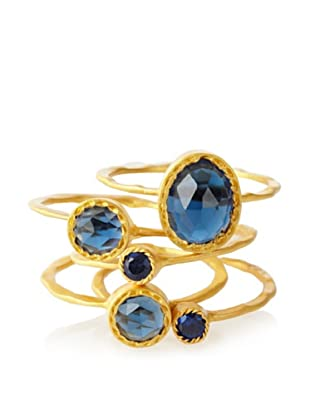 Kevia Genevieve Blue Corundum Hammered Ring Set
